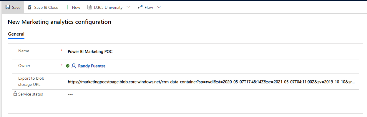 How to Get Started With Power BI Reports and Dynamics 365 Marketing - export to blob storage url