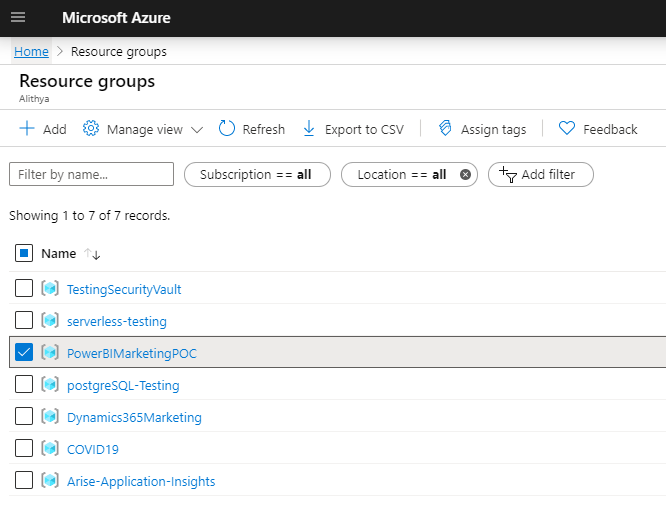 How to Get Started With Power BI Reports and Dynamics 365 Marketing - microsoft azure - resrouce groups page