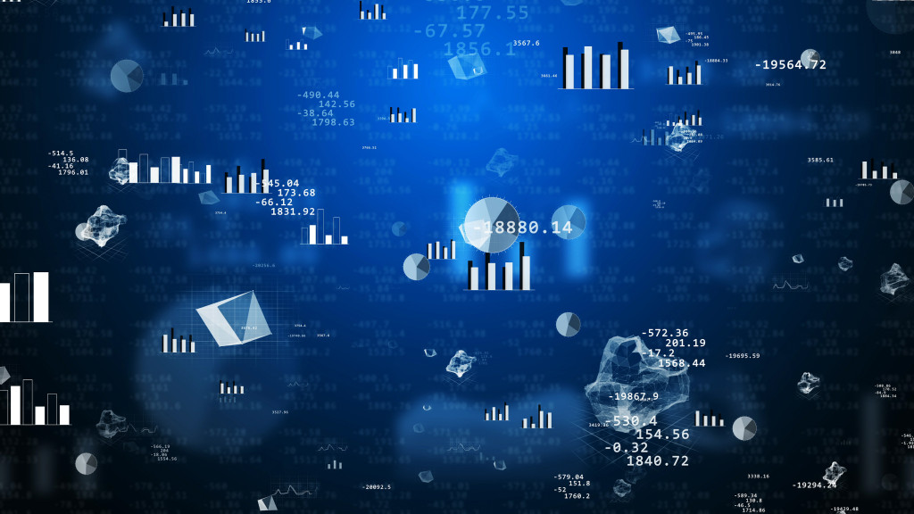 3d illustration. Big business concept. Abstract financial signs charts graphs on a blue background.