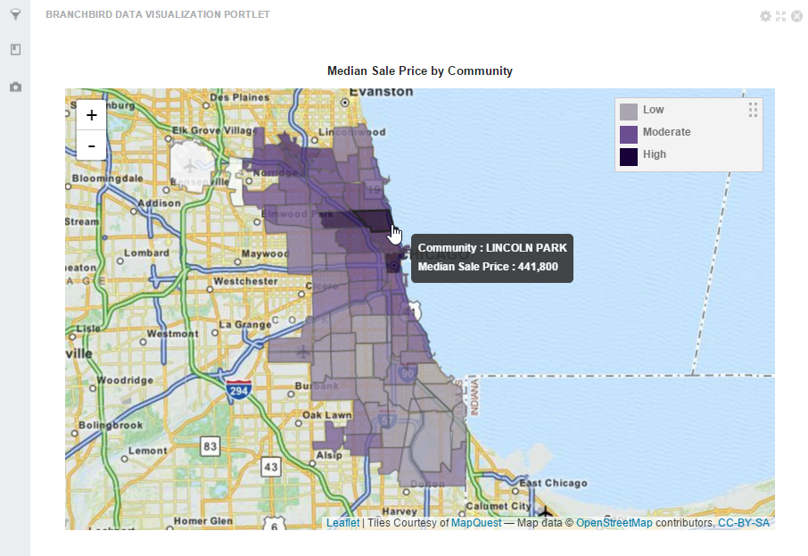 Median Sale Price by Chicago Community - Created using the RanzalData Visualization Portlet*