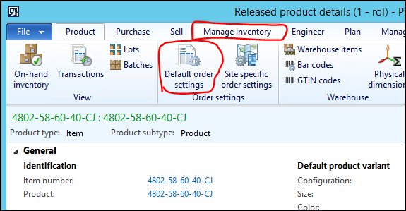 Changing default order settings