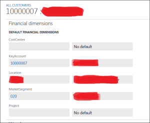 Customizing financial dimensions on customer record