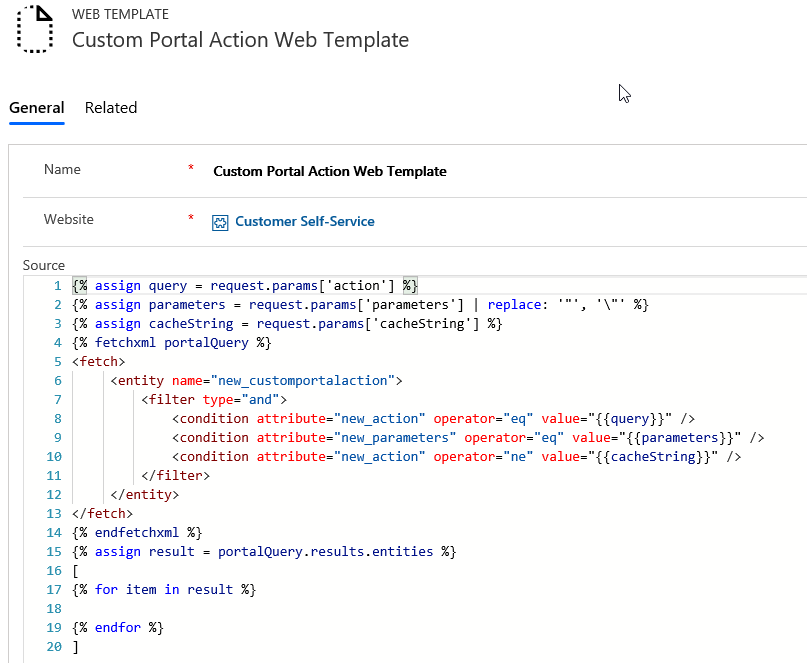 new Web Template that will contain the Liquid code to query the Custom Portal Action
