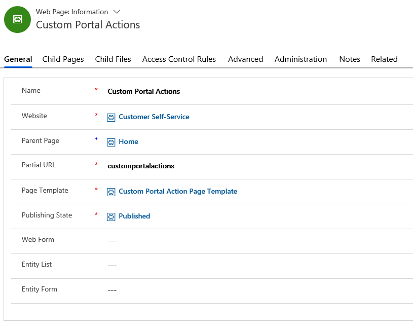 create a Web Page that will use this Page Template microsoft dynamics 365 crm