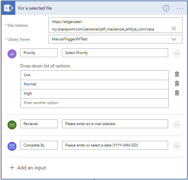 Microsoft Dynamics 365 Flow_ selected sharepoint item or document, shown in flow menu