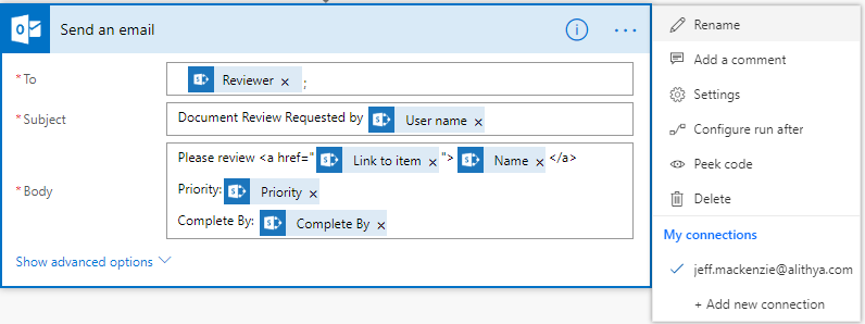Microsft Dynamics 365 Flow_ sending email_ actions
