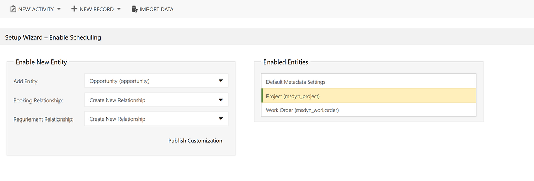 Setup Wizard - Enable Scheduling in Microsoft Dynamics 365