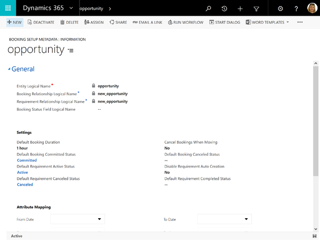 Booking settings for opportunities Microsoft Dynamics 365