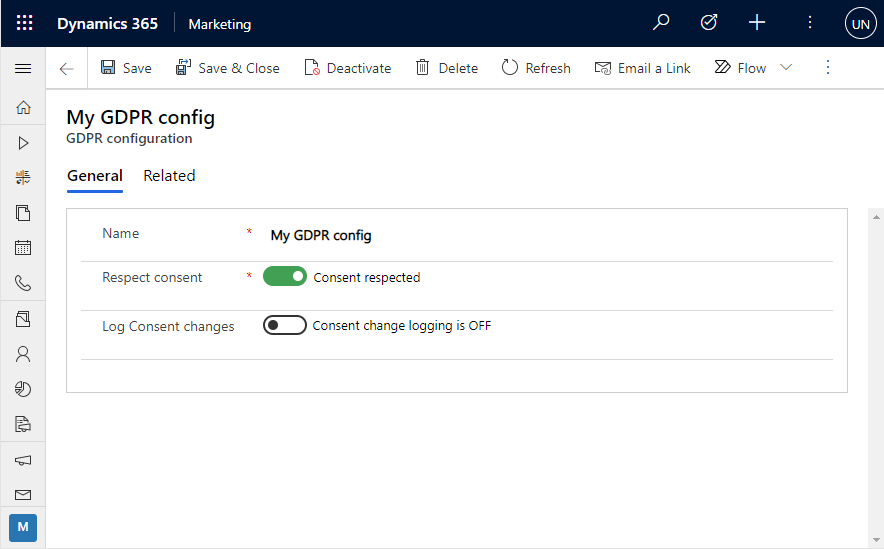 Enabling GDPR for D365 Marketing_My GDPR Configuration screen