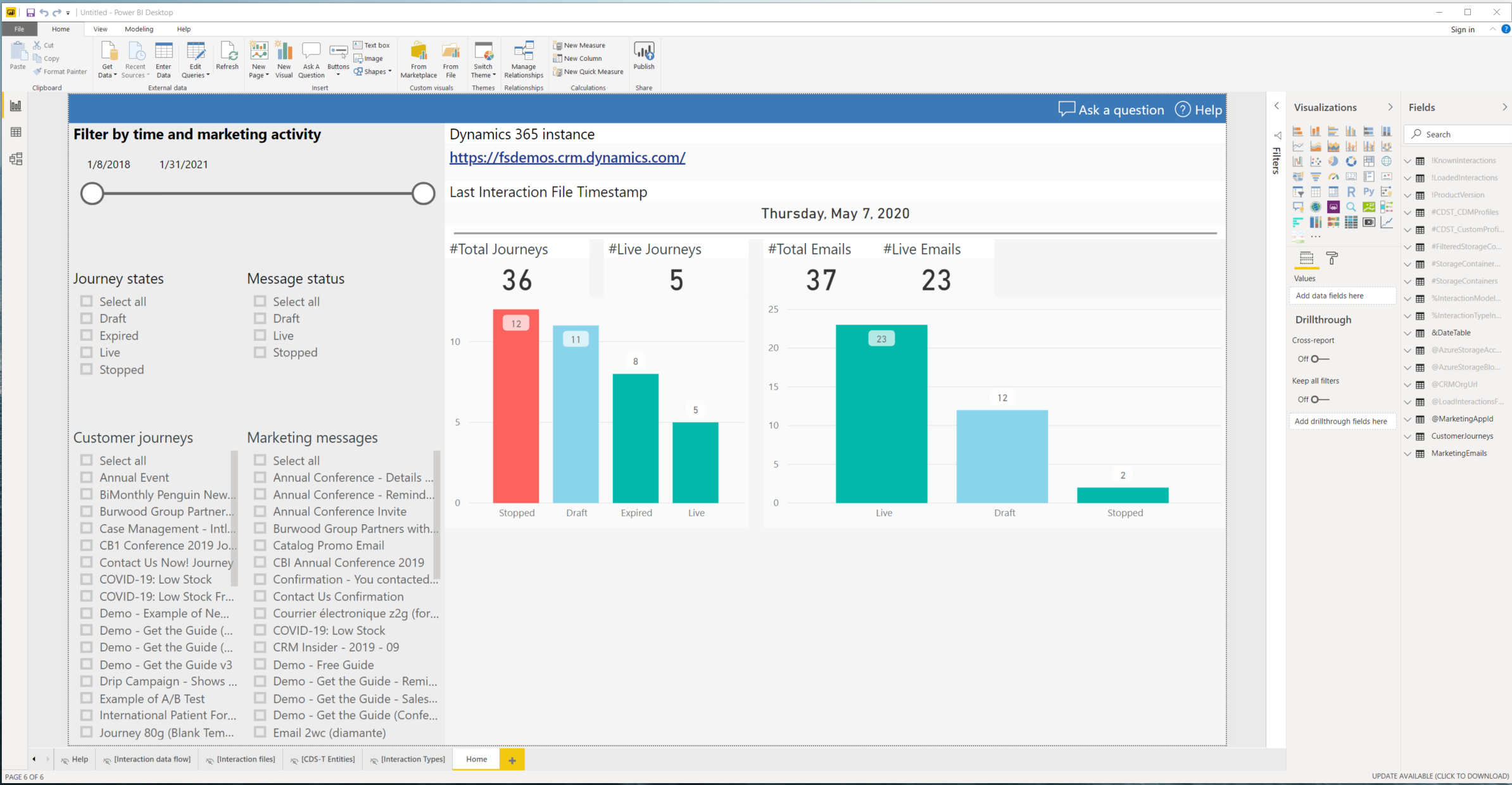How to Get Started With Power BI Reports and Dynamics 365 Marketing - BI report created
