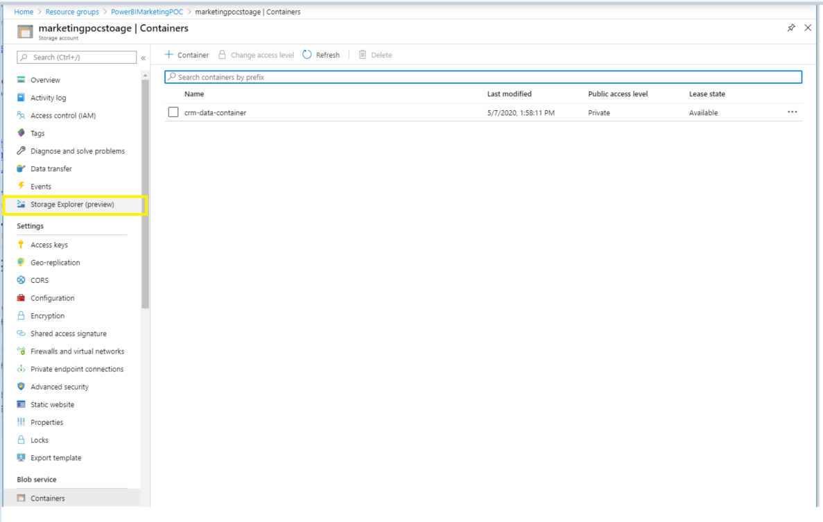 How to Get Started With Power BI Reports and Dynamics 365 Marketing - Storage Explorer (preview)