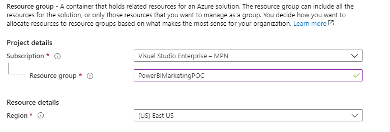 How to Get Started With Power BI Reports and Dynamics 365 Marketing - resource groups details