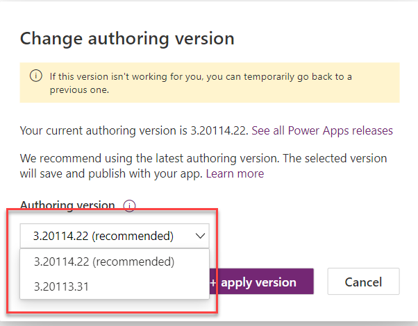 Power Apps - Authoring Version Image 4