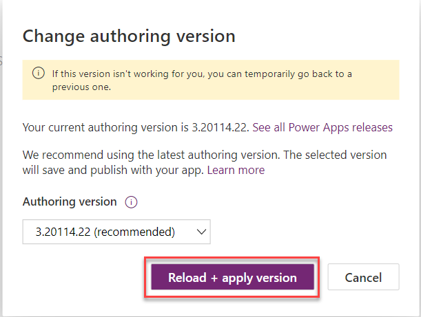 Power Apps - Authoring Version Image 5