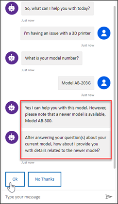 Microsoft Power Virtual Agent for Sales & Marketing - chat bot interface