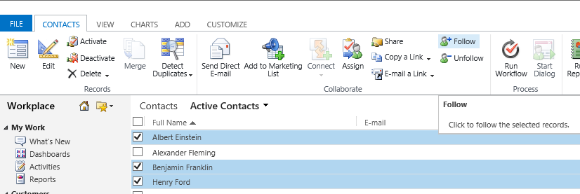 Select contacts to follow