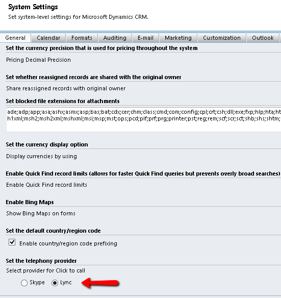 """Select 'Lync' under the """"Set the Telephony Provider"""" section"""
